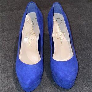Royal Blue Suede pump heels.
